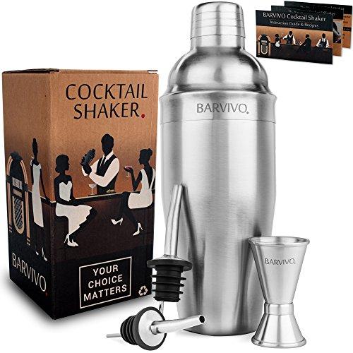Conjunto de coctelera profesional BARVIVO, con un medidor doble y 2 vertedores de licor - 700ml Mezclador de acero inoxidable cepillado perfecto para preparar en casa martinis, margaritas y más..