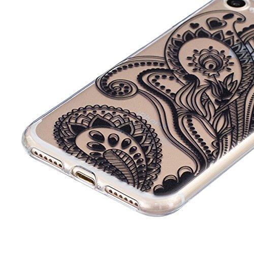 SainCat Custodia per Apple iPhone 7 Cover,Ultra Slim trasparente TPU Crystal Clear Morbido Copertura Case Cover per iPhone 7,Disegni Lusso Vans Belle Creative Marvel Fantasia Campanula Puro Trasparent Nero-fiore met¨¤