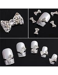 10x Legierung 3D Nagelsticker Bowknot Schleife Fliege Strass Nail Art Sticker