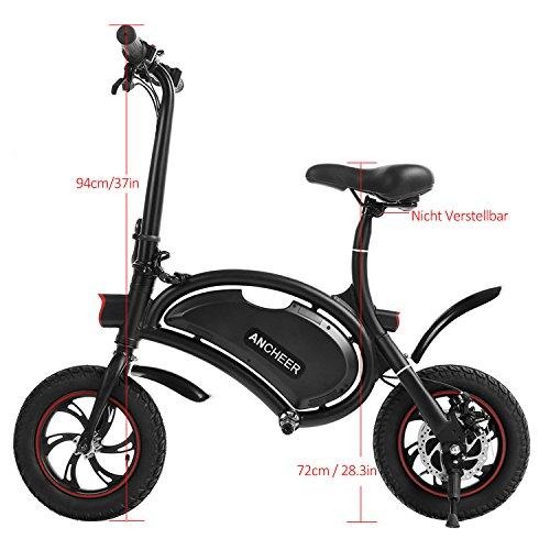 Ancheer E-Scooter Faltbar, Elektroroller Pedelec, Höchstgeschwindigkeit bis 25 km/h, 36V 4.4AH LG Zelle Batterie, 250W Hochgeschwindigkeit-Bürstenlose Heckmotor, intelligente App-Funktion Schwarz - 3
