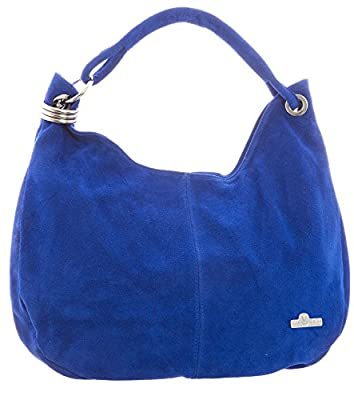 LIATALIA - Womens Girls Large Real Italian Suede Leather Single Strap Hobo Boho Slouch Handbag Purse - FIONA
