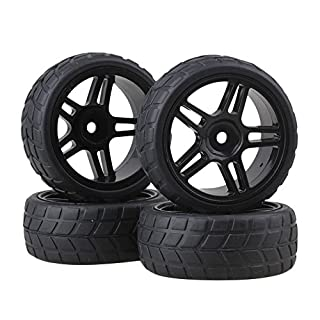 BQLZR 4PCS Rhombic Pattern Hub Wheel Rim&Tires 1:10 RC On-road Racing Car