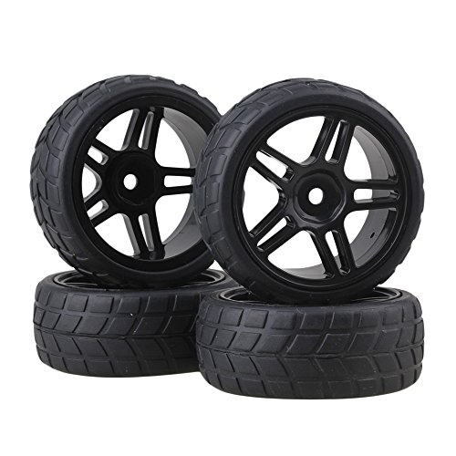 BQLZR 4PCS Rhombic Pattern Hub Wheel Rim&Tires 1:10 RC On-road Racing Car