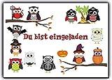 Eulen Einladungskarten Grusel Faktor Halloween Karneval Kindergeburtstag (12 Stück) Halloweenparty Jungen Mädchen Kinder Geburtstag Zauberer Kürbis Vampir Du bist eingeladen Einladung Party