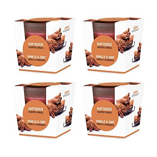 Pajoma 4X Duftkerzen Weihnachten im satinierten Glas in Edler Geschenkverpackung (Vanille & Zimt)