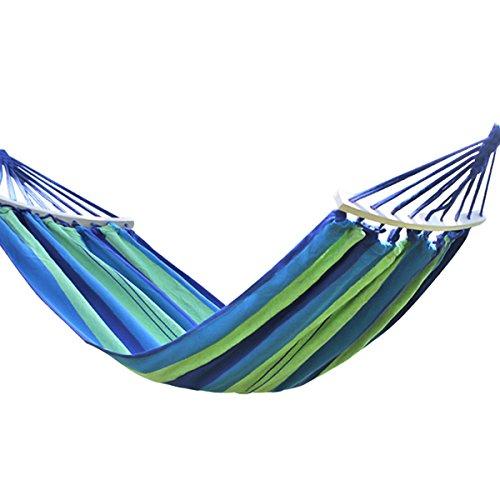 Fangwei Hängematte Gartenhängematte Outdoor Liegefläche 190x100 / 190x150 Belastbarkeit 200kg / 280kg (Blaue Streifen mit Holzstab, 190x150cm)