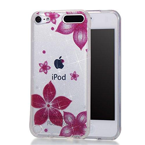 Hozor iPod Touch 5/Touch 6 Hülle, Glitzer Design Muster Crystal Glänzende Soft Flex Premium TPU Silikon Durchsichtig Bumper Case Cover Dünn Schlank Handyhülle Kratzfest Schutzhülle (Rote Blumen)