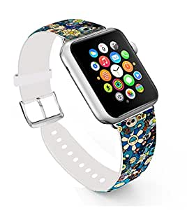 Apple Watch Band 42mm,Replacement Band Genuine Leather Iwatch Strap With Silver Metal Clasp For Iwatch 42mm Colorful Sunflower And Skull