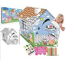Imc Toys - Casita Pintable Peppa Pig Con 6 Lapices Y Pegatinas 43-360006