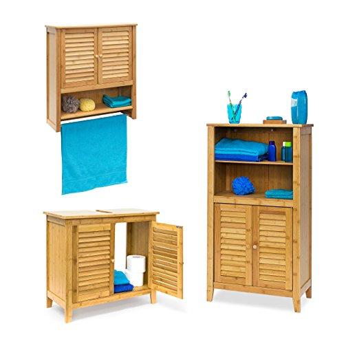 3 tlg Badeinrichtungs Set LAMELL, Waschbeckenunterschrank, Badschrank mit Türen, Hängeschrank mit Handtuchhalter, Bambus