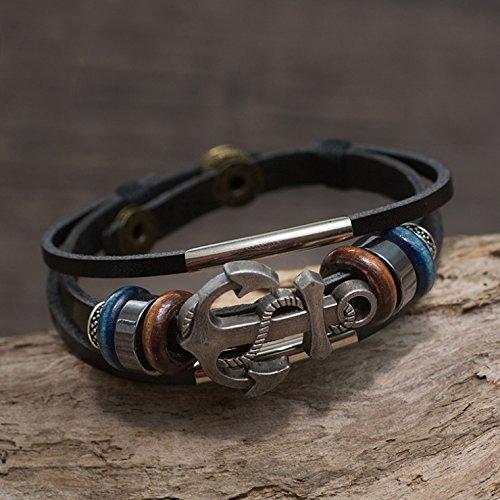 Zodiaca Schmuck Herren Armband Anker, Handgestrickte Retro-Stil Kordelkette Armreif Armband Manschette mit Anker Design für Männer und Frauen, verstellbar