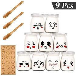 Yangbaga 9 Pot Yaourt en Verre avec Couvercles Décor émoticône et Cuillère en Bois, Bocal Crème Dessert Contenance 100 ml