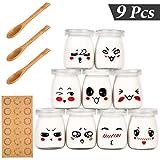 Yangbaga Vasos para Yogurtera, 9 Vasos de Repuesto Tarros Cristal Pequeños con Tapa Plastico para...