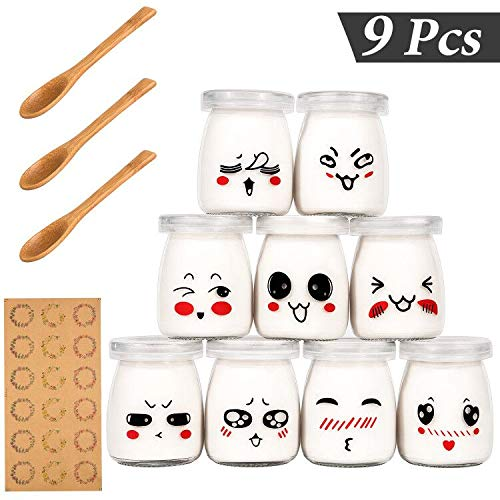 Yangbaga Joghurtgläser 9 Gläser mit Deckel, Gläser für Vorspeisen und Desserts, ideal zum Anrichten und Präsentieren von Speisen, 100ml Glas 9