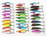 JT-Amigo - Set di 30 Ondulanti Cucchiaini Artificiali Spoon per pesca (Luccio, Trota, Bass)