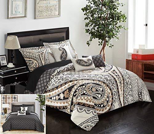 Chic Home Del Mar 10Stück Tröster komplett Bed in a Bag Set GSM Mikrofaser Große Skala Paisley Print mit Moderne geometrische Muster Bettwäsche mit Tabelle Sets Dekorative kissenrollen, Queen beige -