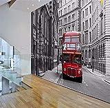 Murales Personalidad Papel Tapiz Fotográfico Arte Clásico Europeo Retro Nostálgico Rojo Autobús De Londres Hotel Bedroommural Decoración-200X140Cm,Fotomurales