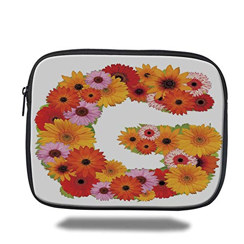 Tablet Bag for Ipad air 2/3/4/mini 9.7 inch,Letter G,Composition with Fresh Garden Flowers Lively Summer Time Inspired Floral Font Decorative,Multicolor,3D Print