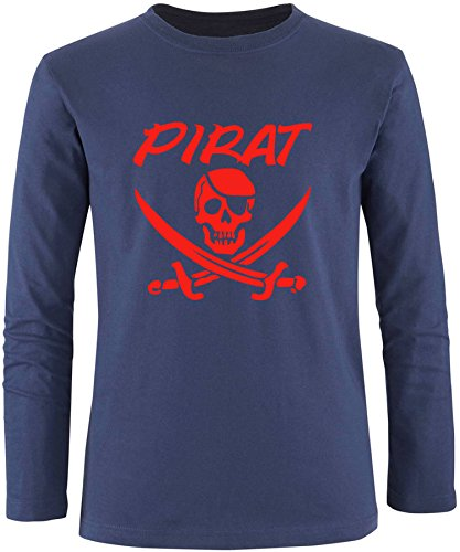EZYshirt® Pirat Herren Longsleeve Navy/Rot