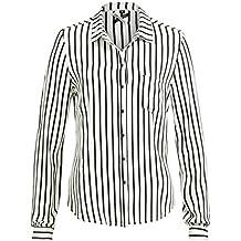 KHUJO Damen Bluse Tunika CONNY Shirt Streifen weiß schwarz langarm 52146515b7