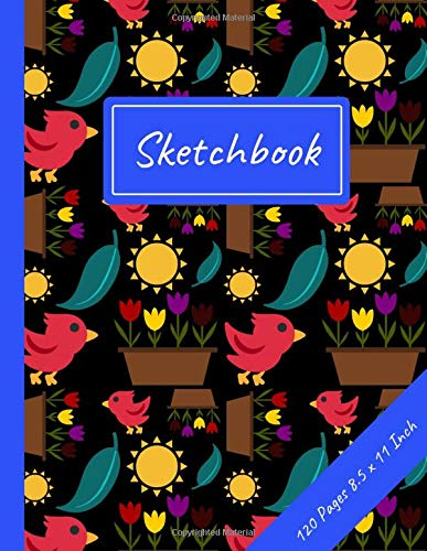Sketchbook: Multicoloured Tulips: 120 Page Large Blank Journal for Drawing, Doodling and Sketching - 8.5
