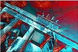 120x80cm Brandenburger Tor türkis rot abstrakt Kunstdruck