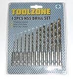 Toolzone 13PC trapano con rivestimento in titanio, 1/10,2cm, codolo esagonale