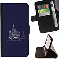 For Sony Xperia Z5 (5.2 Inch) / Xperia Z5 Dual (Not for Z5 Premium 5.5 Inch) Case , Petersburg Russia Navy Blue Piazza Rossa - Portafoglio in pelle della Carta di Credito fessure PU Holster Cover in pelle case