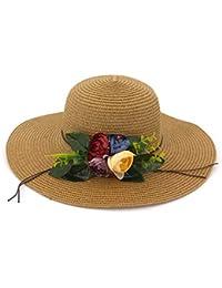 Ovesuxle Sombrero de Paja para Mujer Decoración Floral Sombrilla Sombrilla Playa  Sombrero de Playa (Color b8adbd71b7c