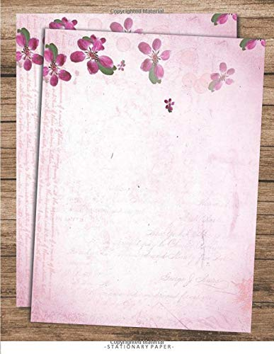 Stationary Paper: Floral Script Stationery Letter Paper, Set of 25 Sheets Flower Designs for Writing, Flyers, Copying, Crafting, Invitations, Party, Office, Events, and School Supplies, 8.5 x 11 Inch