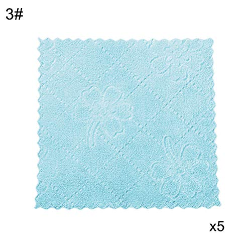 DFYtr511po 5-teiliges Set mit quadratischen Streifen, Blumen-Design, dick und langlebig, für Küche und Badezimmer, super saugfähig, für Waschen, Küche, Badezimmer, Arbeitsfläche blau