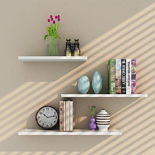Aaimu, set di 3 mensole sospese di diverse dimensioni, mensole bianche da parete, mensole in legno per la decorazione della casa.
