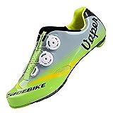TXJ® Unisexo Zapatos de Bicicleta de Carretera (Elija un Tamaño Más Grande de lo Habitual)(SD-004 Verde-Gris,44)
