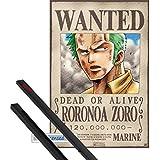 Poster + Hanger: One Piece Mini-Poster (52x35 cm) Wanted Roronoa Zoro Inklusive Ein Paar 1art1® Posterleisten, Schwarz