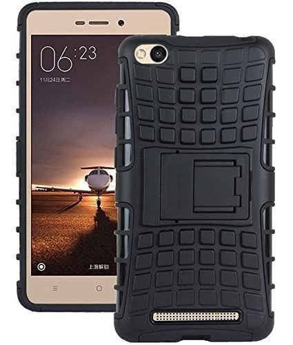 Xiaomi Mi Redmi 5A Defender || Case for Dual Layer Tough Rugged Shockproof Hybrid Warrior Armor Case Back Cover With Kickstand / Black
