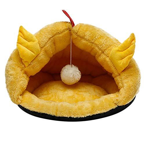 (ODJOY-FAN Hündchen Haustier Katze Hund Weich Warm Nest Kennel Bett Höhle Haus Schlafen Tasche Matte Pad Zelt Zwinger Haustier Schlafplätze Kleintierbetten(Gelb,L))