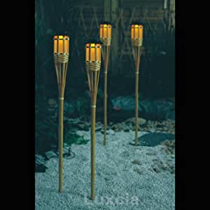 4 X Solar Bamboo Tiki Tropical Torch Light Yellow Led