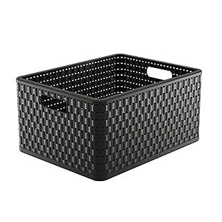 Rotho Country Aufbewahrungskiste in Rattan-Optik, Kunststoff (PP), schwarz, A4+ / 28 Liter (43 x 33 x 21,5 cm)