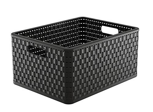Rotho Aufbewahrungskiste, Kunststoff, schwarz, 43 x 34 x 21.8 cm