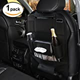 Favoto Car Backseat Organizer PU Leather Seat Back Multi-Pocket Holder Universal for Kids Car Folding Storage Bag for Bottles Umbrella Tissue Box etc Black