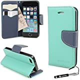 Madcase Apple iPhone SE / 5S / 5 Case Teal & Blue Italian Diary Design Premium Faux Leather Wallet Credit cards flip cover including Screen protector and Stylus Touch Pen