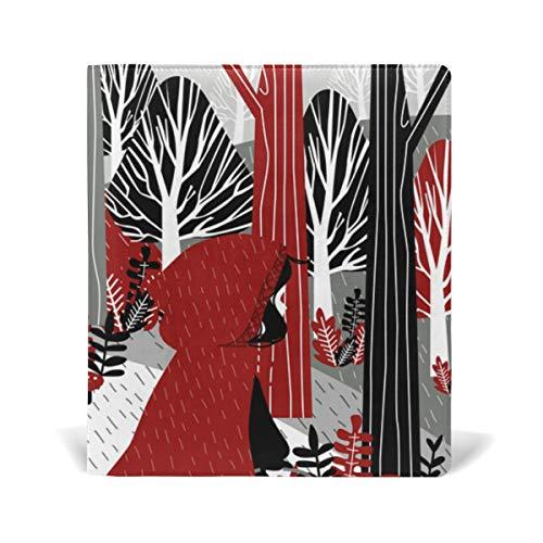 Fairy Tale Cartoon Red Hat Girl PU Leder Schulbuch Cover Protector Lehrbuch Notizbuch Paperback Hardcover 22,9 x 27,9 cm für Mädchen Jungen -