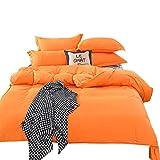 LEEDY Duvet Cover Sets Simple Bedding Bed Set Contain 1PC Quilt Duvet Cover and 1PC Sheets 2PC Pillowcase, Plain Orange, Double