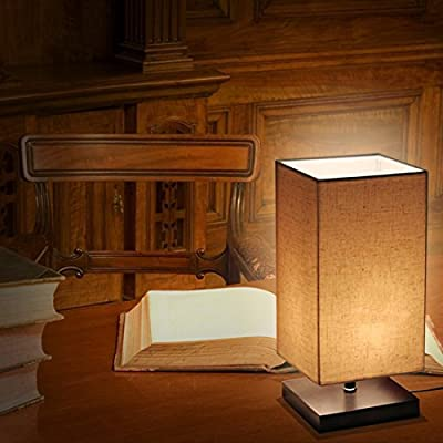 ZEEFO Simple Table Lamp, Retro Solid Wood and Fabric Shade Style Relax Lighting For Bedroom Bedside Desk Lamp, Contemporary Living Room, Study , Baby Room - inexpensive UK light store.