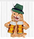 Juzijiang Cat Shower Curtain, Cool Cat with Hat and Beer Mugs Bavarian German Drink Festival Tradition Funny Humorous, F