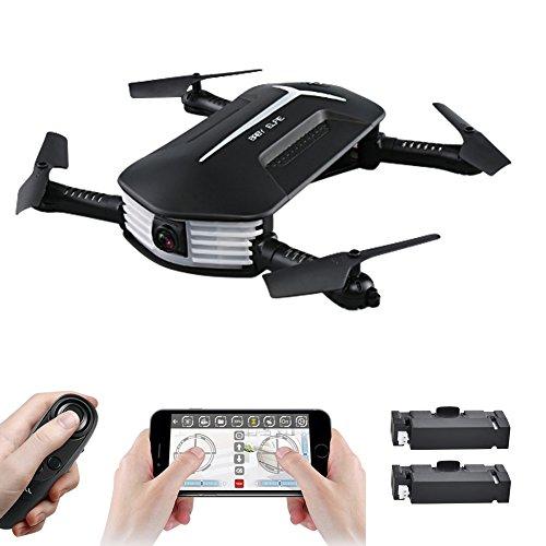 JJR/C H37 Baby ELFIE faltbare Drohne mini, selfie Drohne mit Kamera Live Übertragung WIFI FPV Handy APP-Steuerung G-Sensor Steuerung, automatische Schwebe 3D Flip Stunt Headless Modus, geeignet für alle Stufen-Piloten, 720P HD Kamera mit auto Verschönern Modus, Fernbedienung wie wii, Garantie, 2 Akkus, Deutsche Anleitung, Schwarz Android Rc Auto Mit Kamera