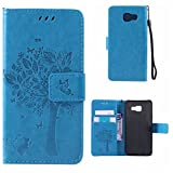 Samsung Galaxy A3 2016 Case + Free Tempered Glass Screen Protector, BoxTii® Premium PU Leather Case Cover with [Wrist Strap] [Magnetic Clip] [Card Slots] [Stand], Elegant Vintage Book Style Design Anti-Scratch Shock-Absorption Folding Folio Flip Wallet for Samsung Galaxy A3 2016 (#5 Blue)