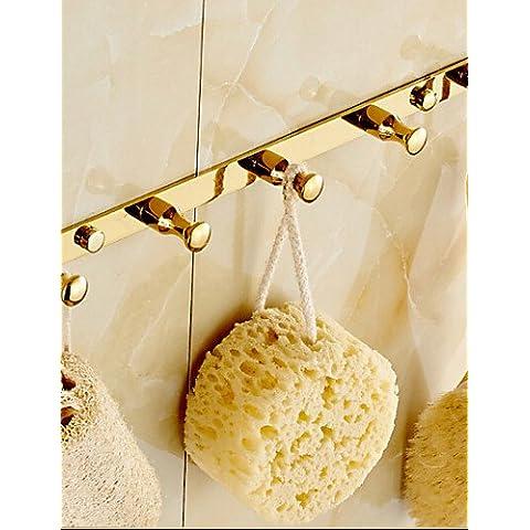 0.5 finitura oro ottone montato a parete Robe ganci , golden