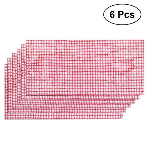 YeahiBaby Einweg-Tischdecke aus Kunststoff, kariert, Rot, Weiß, 137 x 274 cm, 6 Stück -