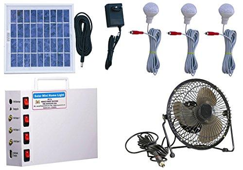 Vicco Solar Home Light Set 6 Volt + 6' Fan (White, 3 Watt)